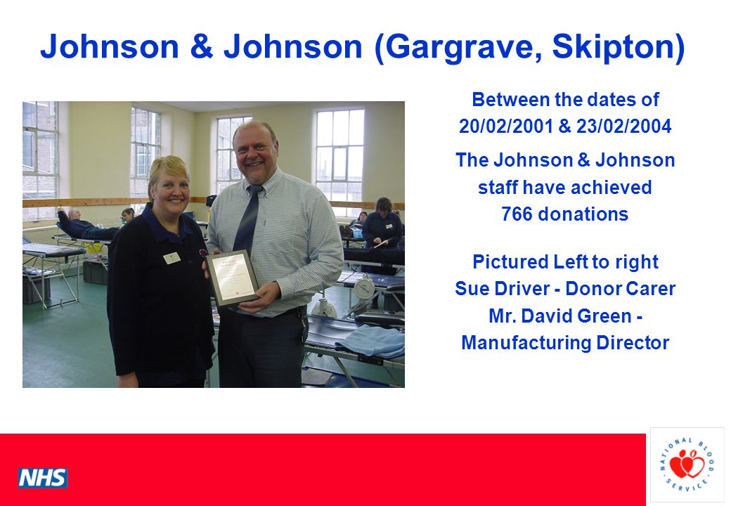 PCS Conference Johnson & Johnson (Gargrave, Skipton) Between the dates of 20/02/2001 & 23/02/2004 The Johnson & Johnson staff have achieved 766 donations Pictured Left to right Sue Driver - Donor Carer Mr.