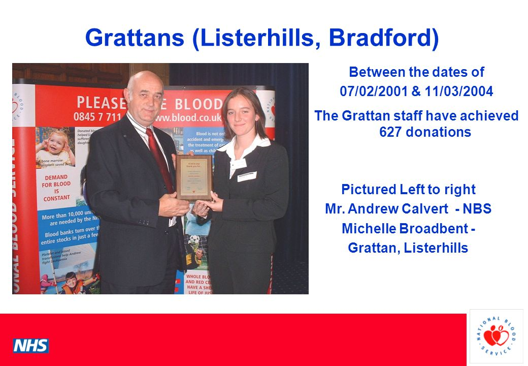 PCS Conference Grattans (Listerhills, Bradford) Between the dates of 07/02/2001 & 11/03/2004 The Grattan staff have achieved 627 donations Pictured Left to right Mr.