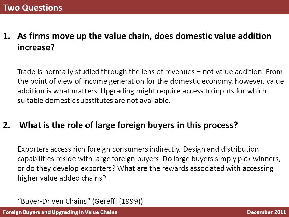 1.As firms move up the value chain, does domestic value addition increase.