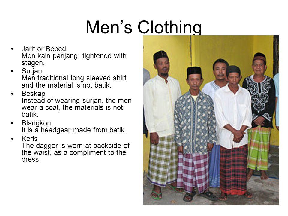 Men's Clothing Jarit or Bebed Men kain panjang, tightened with stagen. Surjan Men traditional long sleeved shirt and the material is not batik. Beskap