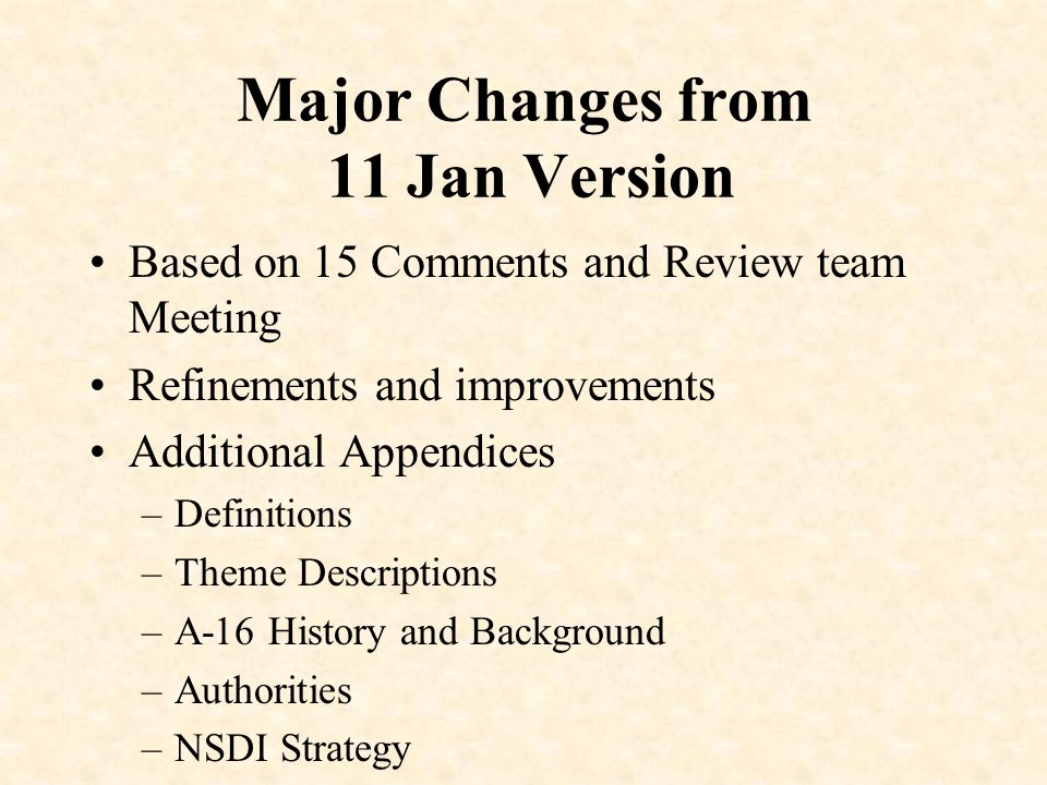 Major Changes from 11 Jan Version Based on 15 Comments and Review team Meeting Refinements and improvements Additional Appendices –Definitions –Theme