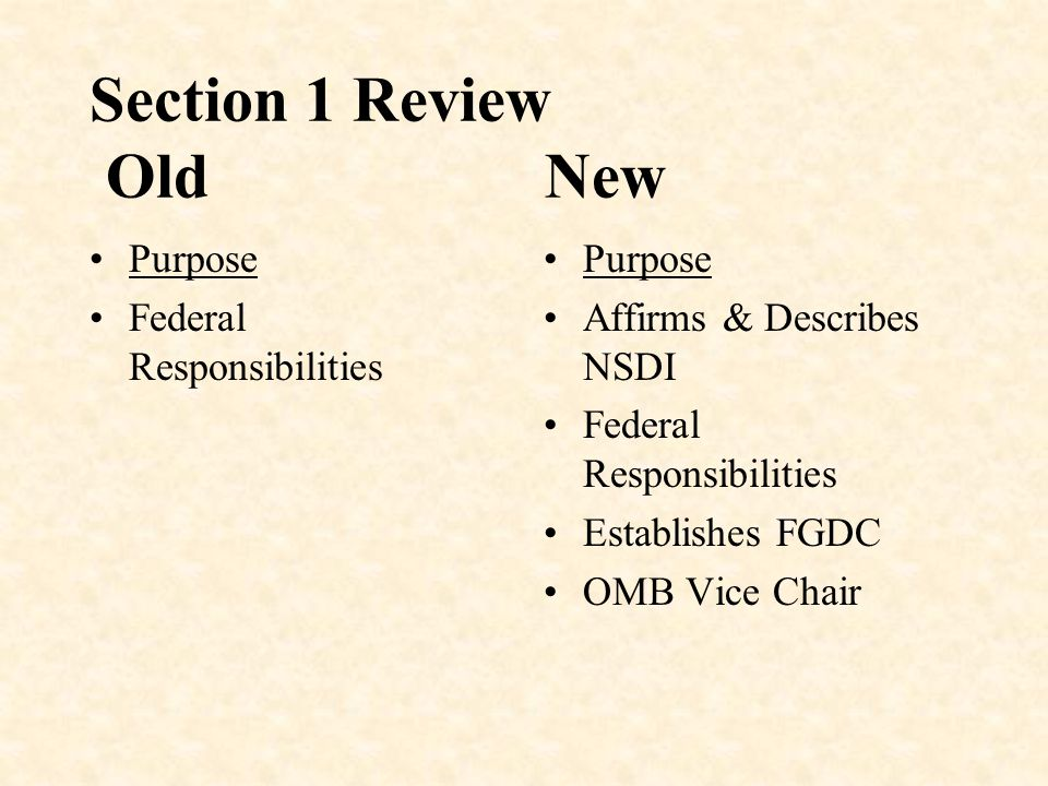 Section 1 Review Old New Purpose Federal Responsibilities Purpose Affirms & Describes NSDI Federal Responsibilities Establishes FGDC OMB Vice Chair