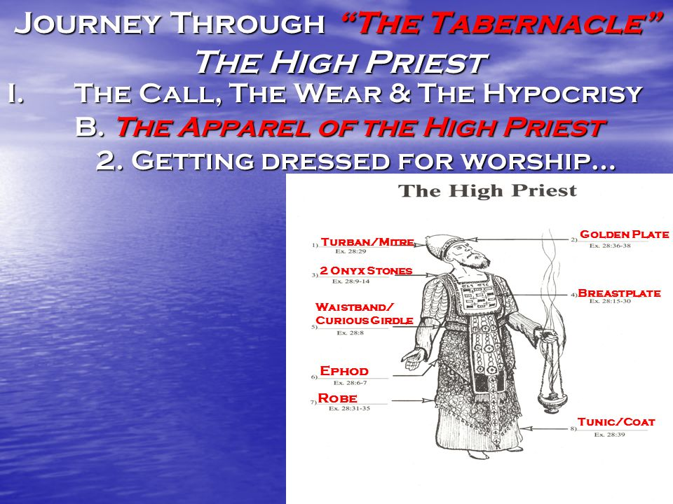 Journey Through The Tabernacle The High Priest I.The Call, The Wear & The Hypocrisy B.