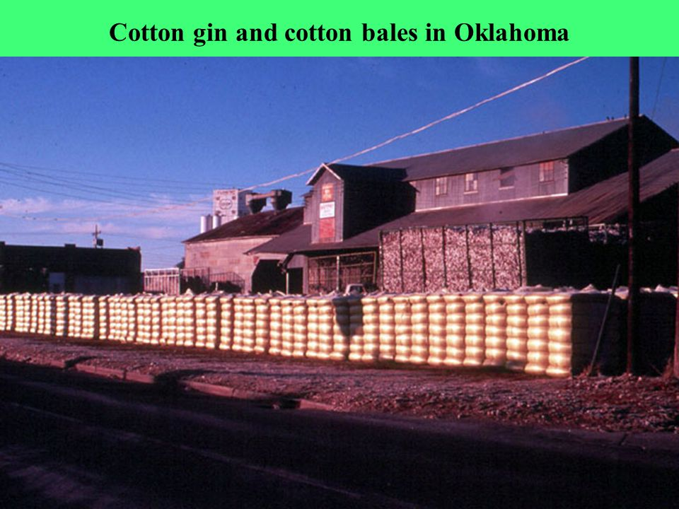 Cotton gin and cotton bales in Oklahoma