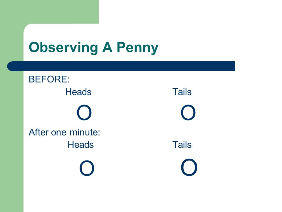 Observing A Penny BEFORE: Heads Tails O O After one minute: Heads Tails O