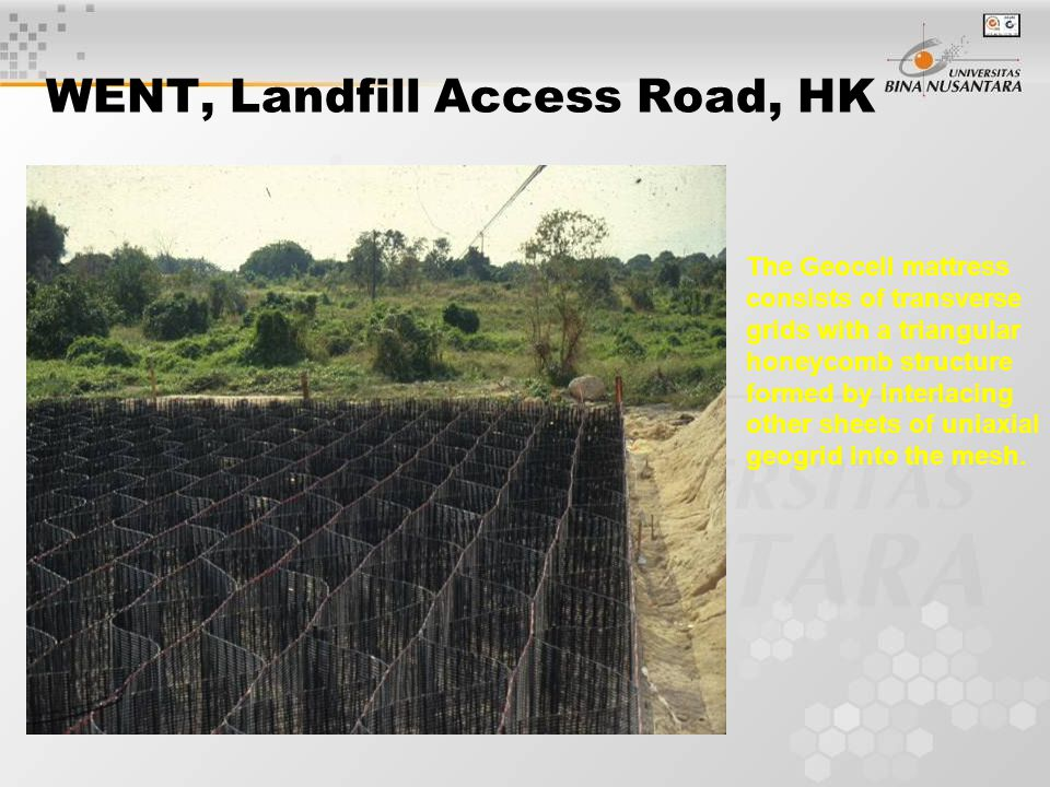 WENT, Landfill Access Road, HK The Geocell mattress consists of transverse grids with a triangular honeycomb structure formed by interlacing other sheets of uniaxial geogrid into the mesh.