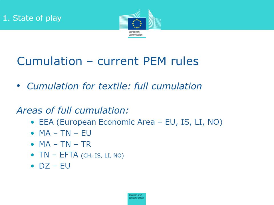 Cumulation – current PEM rules Cumulation for textile: full cumulation Areas of full cumulation: EEA (European Economic Area – EU, IS, LI, NO) MA – TN – EU MA – TN – TR TN – EFTA (CH, IS, LI, NO) DZ – EU 1.