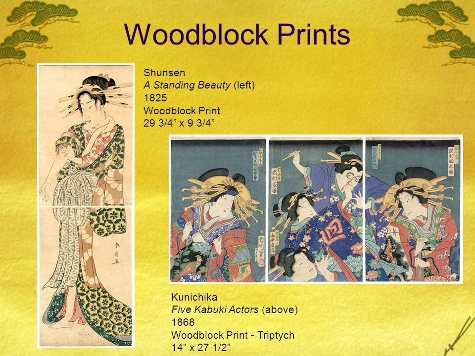 Eisen A Beauty and a Flowering Plum (left) 1830's Woodblock Print 14 3/4 x 10 Shuncho A Lady at a Fish Market (right) early 1790 s Woodblock Print 24 1/4 x 4 3/4