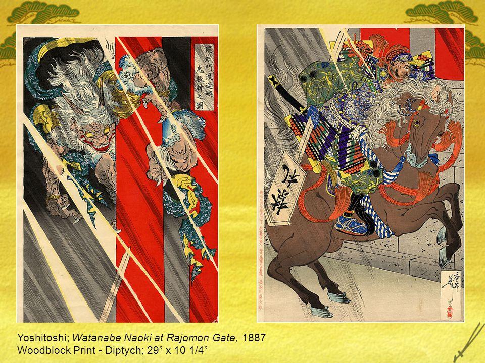Yoshitoshi; Watanabe Naoki at Rajomon Gate, 1887 Woodblock Print - Diptych; 29 x 10 1/4