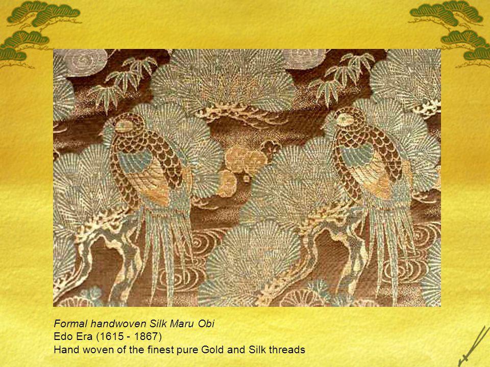Formal handwoven Silk Maru Obi Edo Era (1615 - 1867) Hand woven of the finest pure Gold and Silk threads