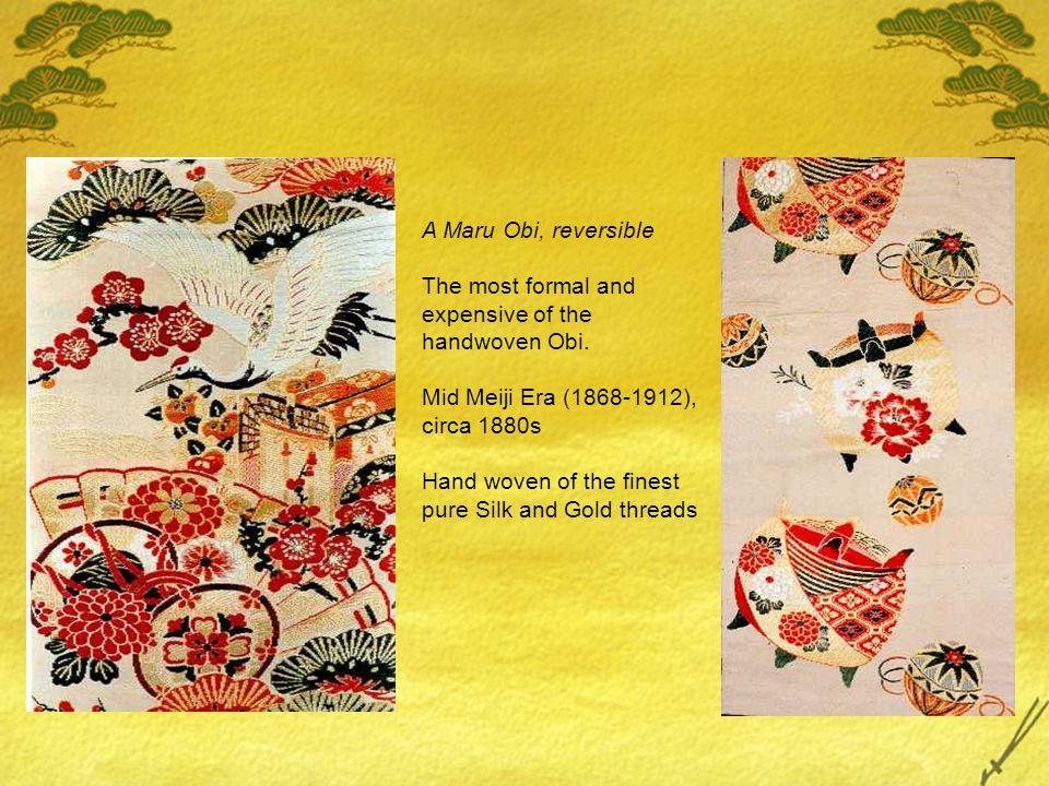 Nagajuban or Under Kimono Showa Era, ca 1930s Brilliantly hand dyed and stenciled Silk Maru Obi Taisho Era (1912 - 1925) Handwoven of the finest quality Silk threads