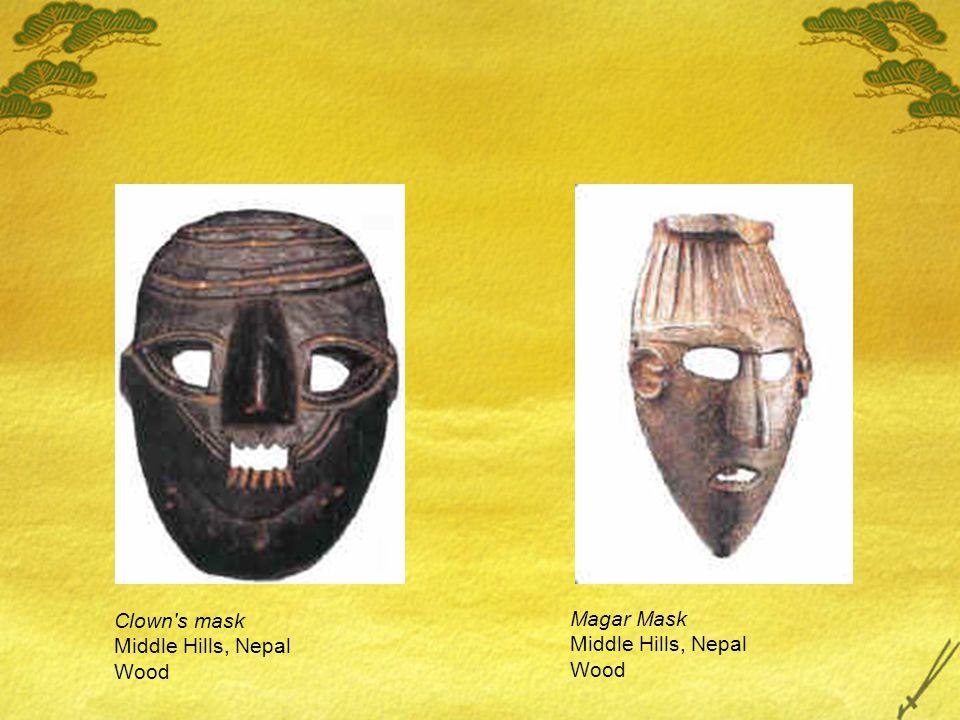 Magar Mask Middle Hills, Nepal Wood Clown s mask Middle Hills, Nepal Wood