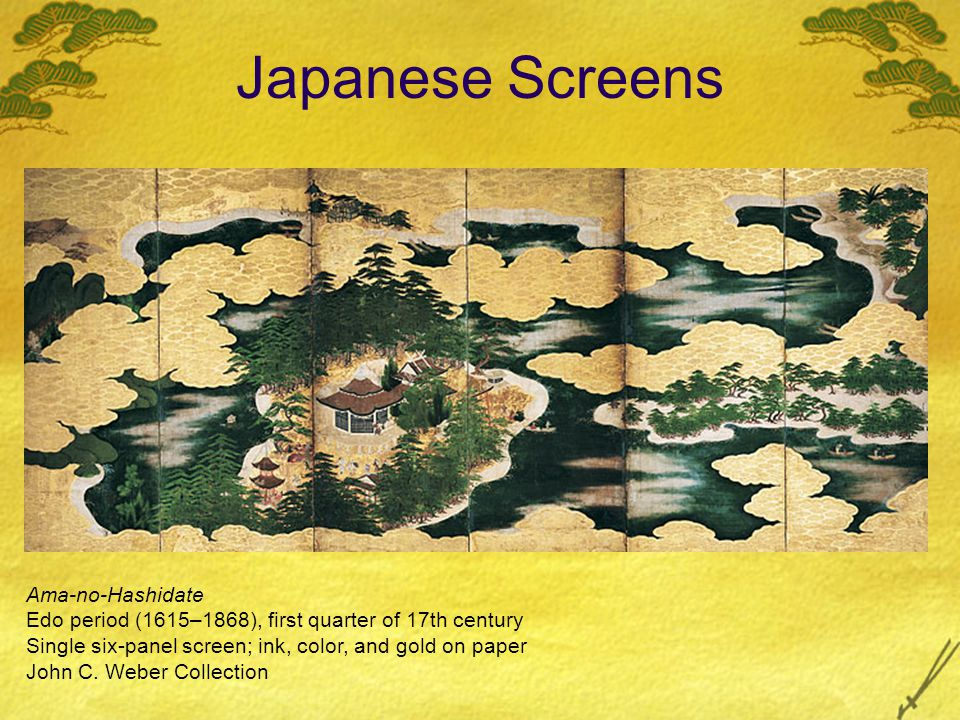 Japanese Screens Ama-no-Hashidate Edo period (1615–1868), first quarter of 17th century Single six-panel screen; ink, color, and gold on paper John C.