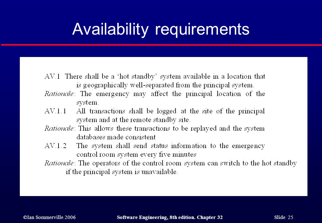 ©Ian Sommerville 2006Software Engineering, 8th edition. Chapter 32 Slide 25 Availability requirements