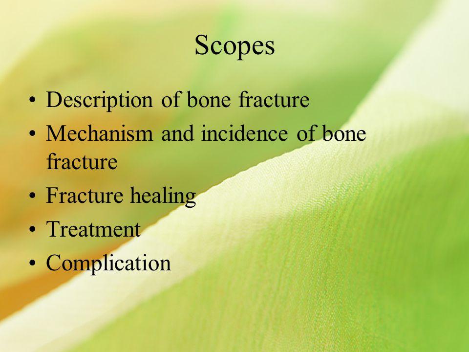 Scopes Description of bone fracture Mechanism and incidence of bone fracture Fracture healing Treatment Complication