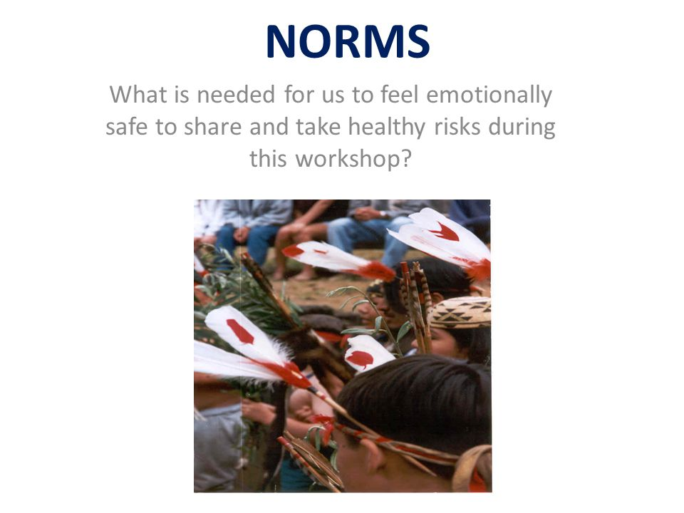 NORMS What is needed for us to feel emotionally safe to share and take healthy risks during this workshop