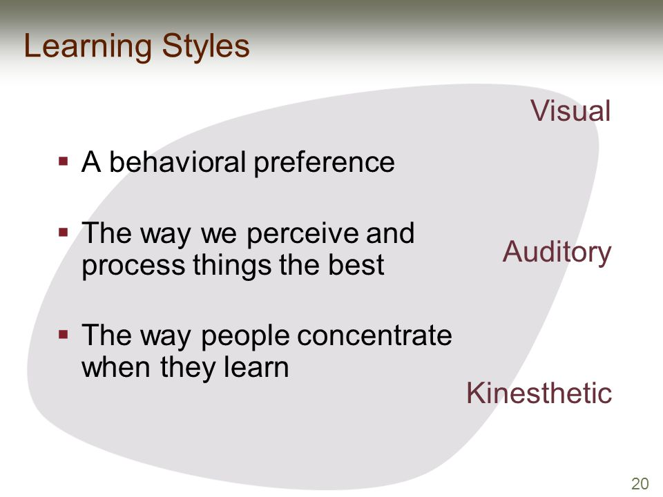 20 Learning Styles  A behavioral preference  The way we perceive and process things the best  The way people concentrate when they learn Visual Aud