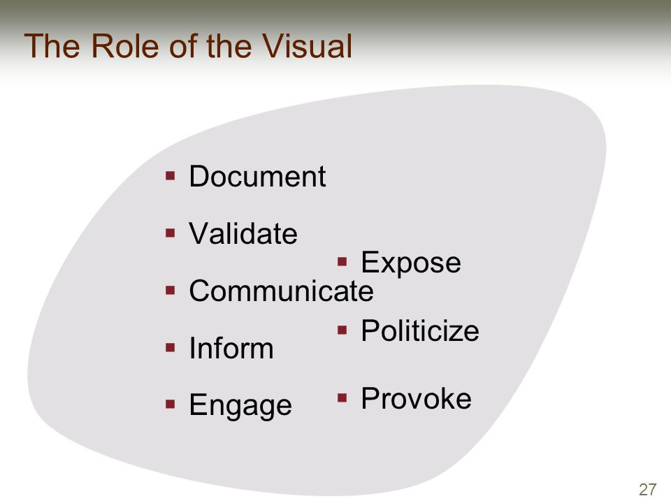 27 The Role of the Visual  Document  Validate  Communicate  Inform  Engage  Expose  Politicize  Provoke