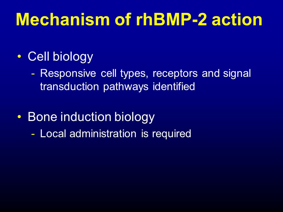 Preclinical safety findings No systemic effects -attributed to low systemic exposure -local effects = osteoinduction by rhBMP-2 No toxicity detected Safety assessment supports use of InFUSE™ Bone Graft