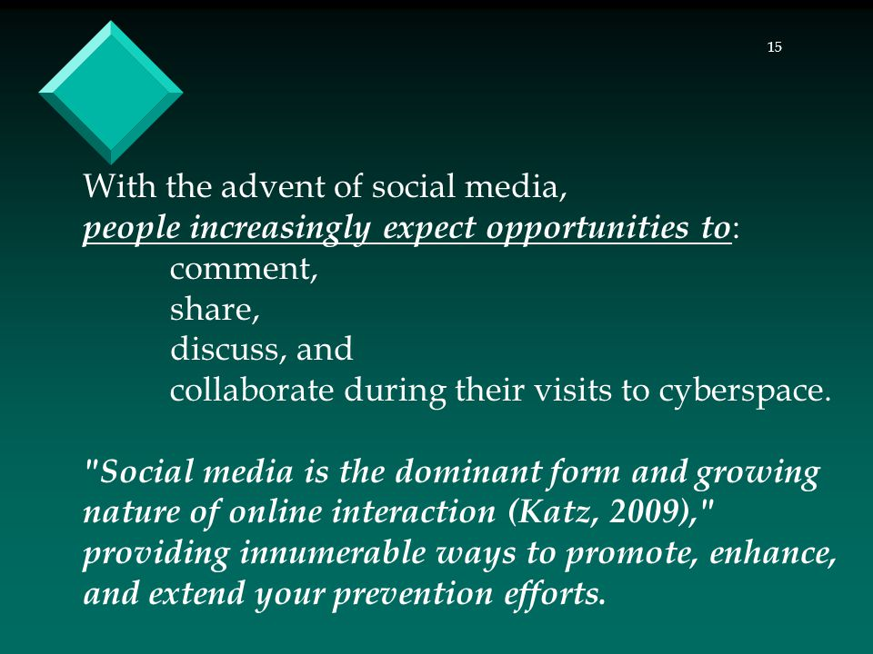 15 With the advent of social media, people increasingly expect opportunities to : comment, share, discuss, and collaborate during their visits to cyberspace.