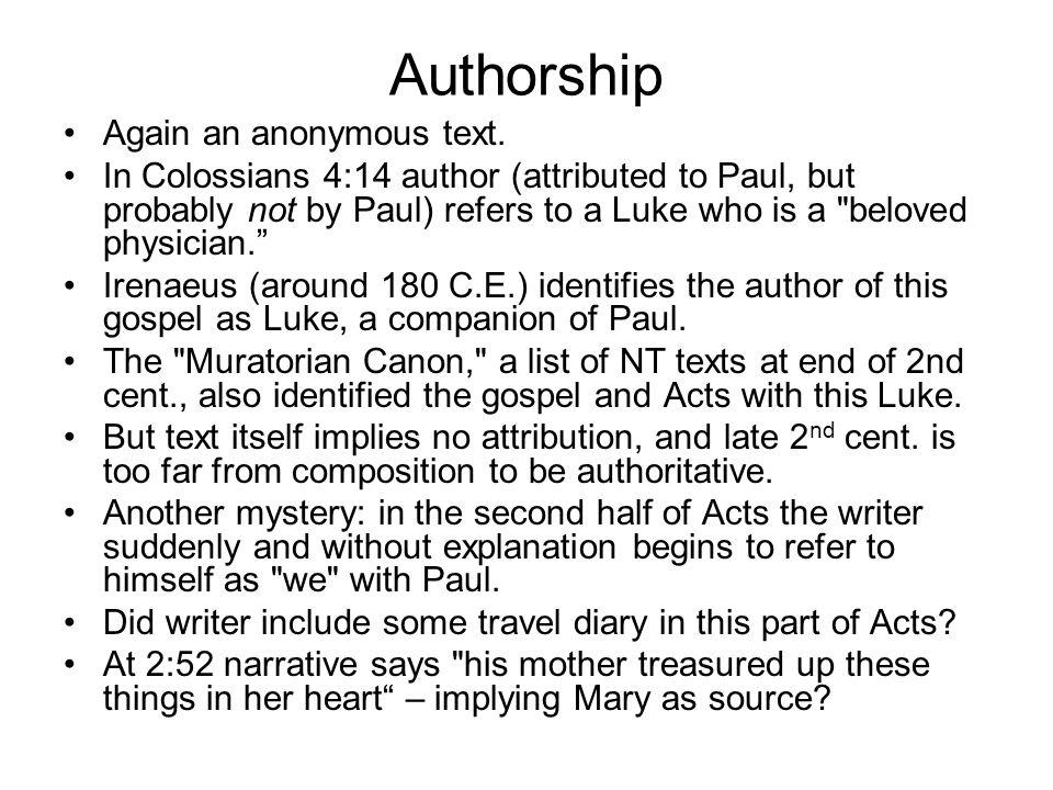 Authorship Again an anonymous text.