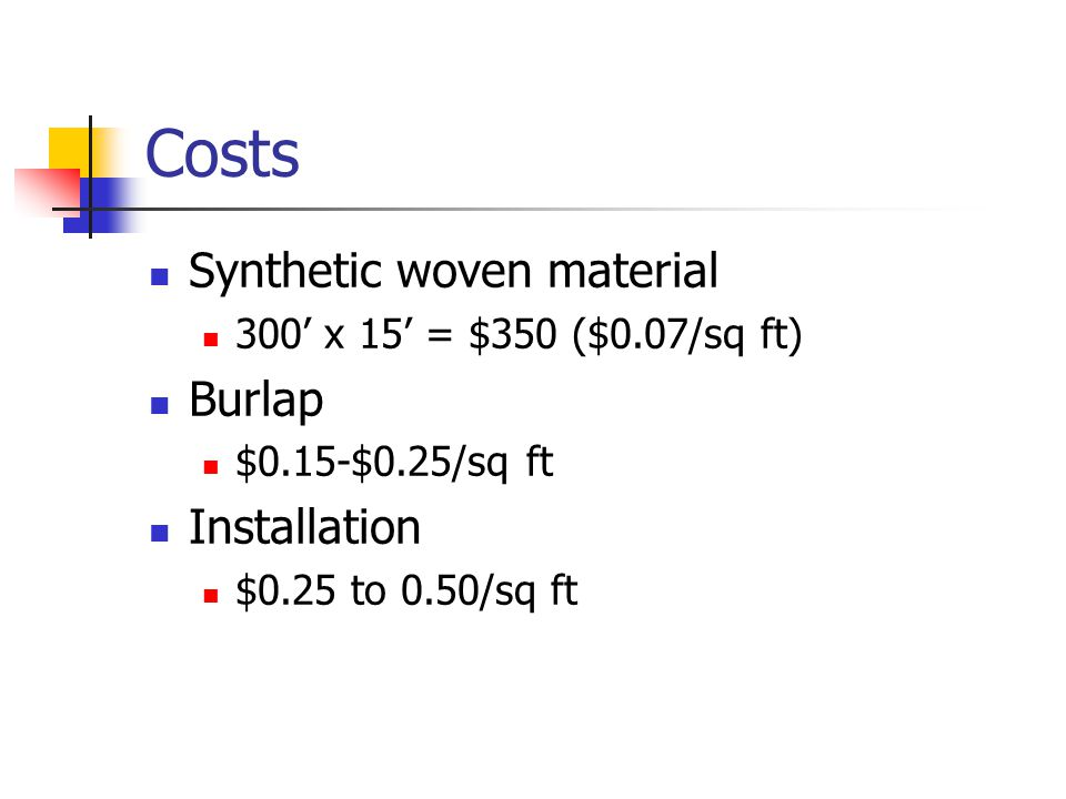 Costs Synthetic woven material 300' x 15' = $350 ($0.07/sq ft) Burlap $0.15-$0.25/sq ft Installation $0.25 to 0.50/sq ft