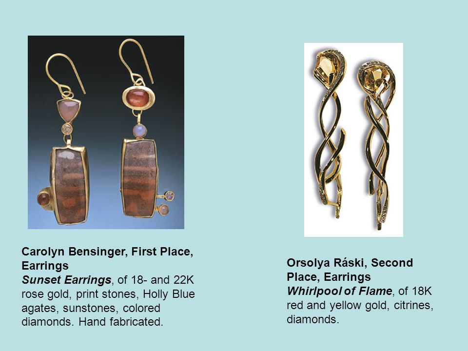 Carolyn Bensinger, First Place, Earrings Sunset Earrings, of 18- and 22K rose gold, print stones, Holly Blue agates, sunstones, colored diamonds.