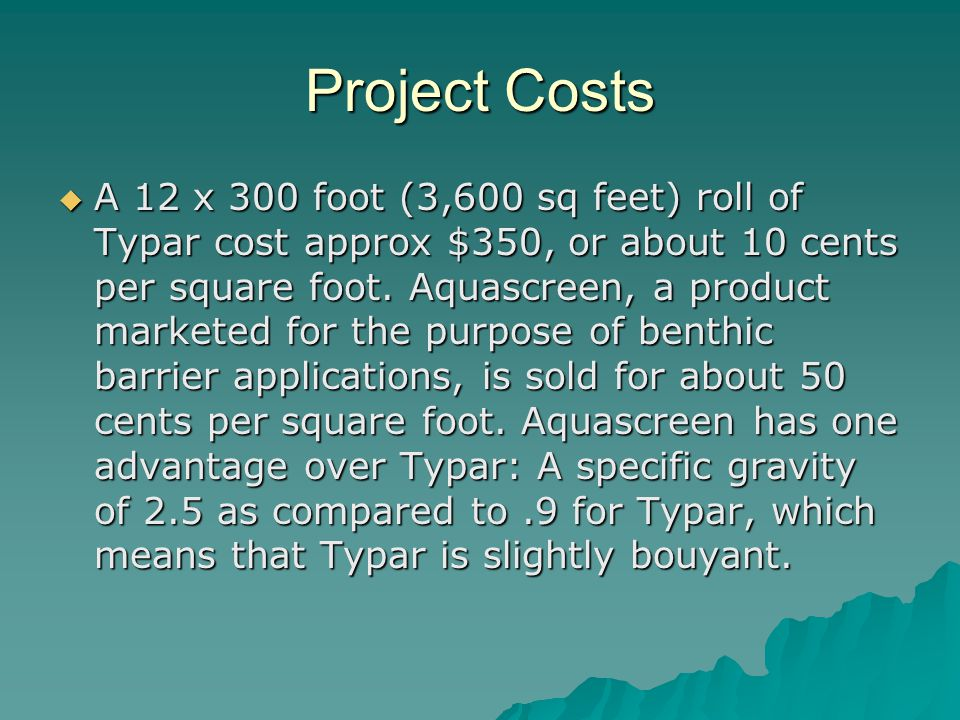 Project Costs  A 12 x 300 foot (3,600 sq feet) roll of Typar cost approx $350, or about 10 cents per square foot.