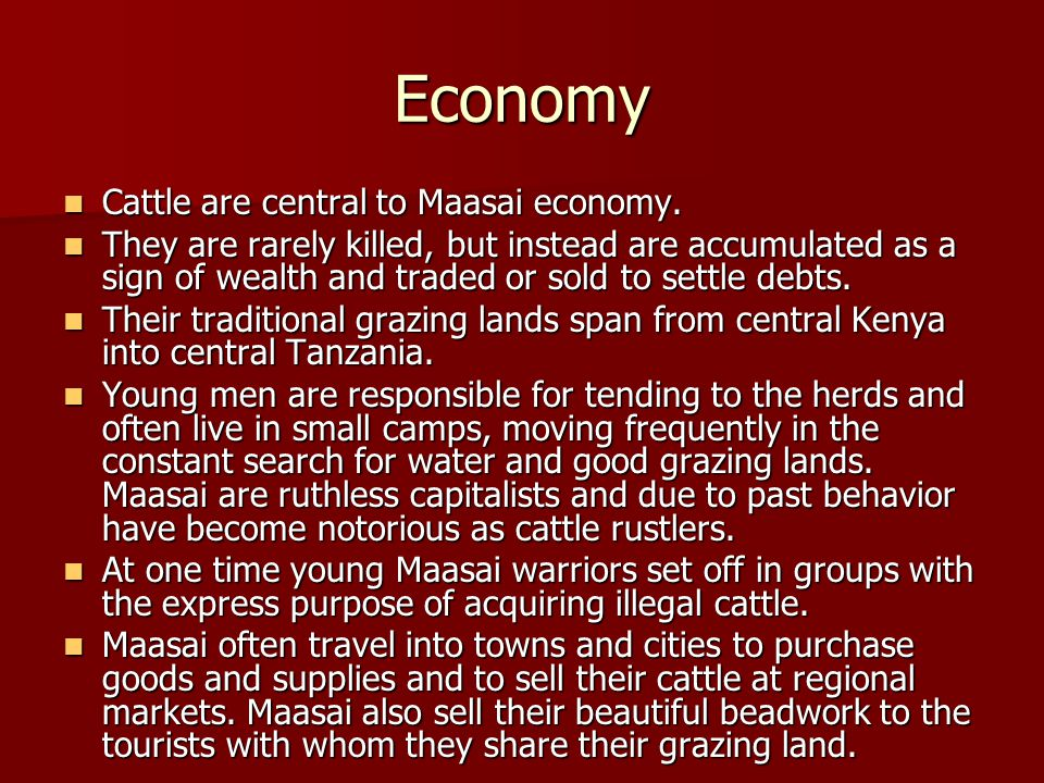 Economy Cattle are central to Maasai economy. Cattle are central to Maasai economy. They are rarely killed, but instead are accumulated as a sign of w
