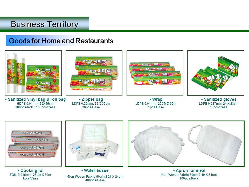 Business Territory Goods for Home and Restaurants  Sanitized vinyl bag & roll bag HDPE 0.01mm, 25X35cm 200pcs/Roll 100pcs/Case  Zipper bag LDPE 0.06