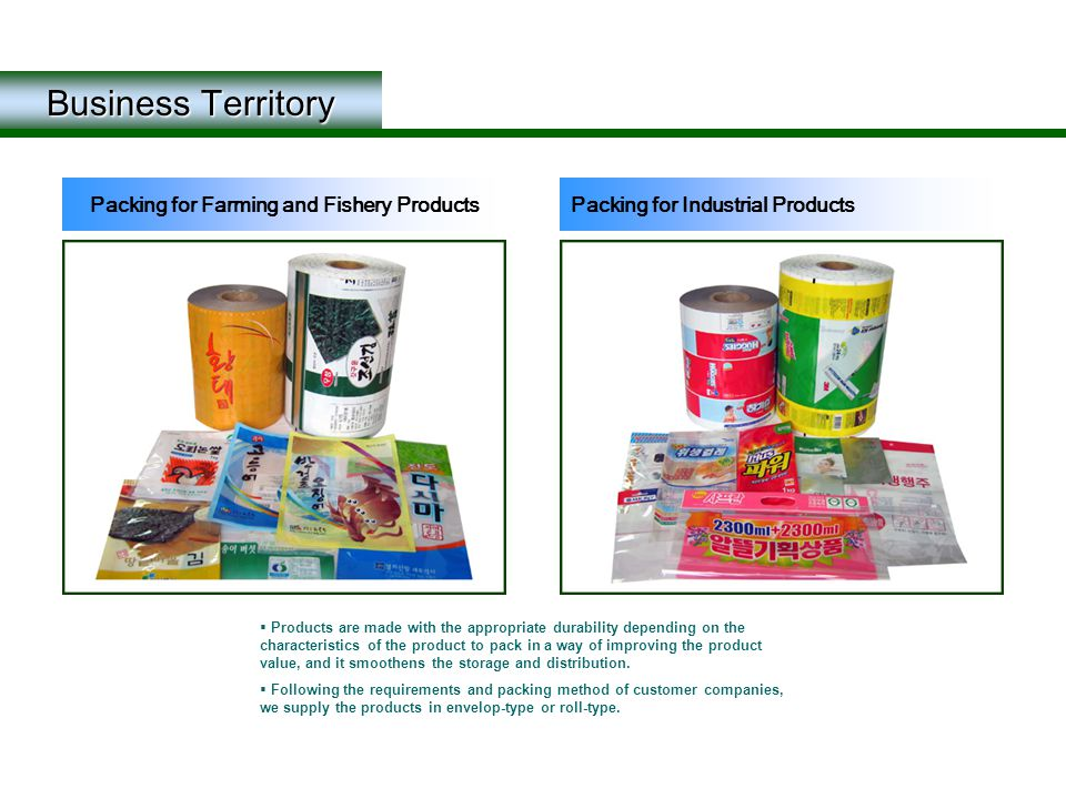 Business Territory  Products are made with the appropriate durability depending on the characteristics of the product to pack in a way of improving t
