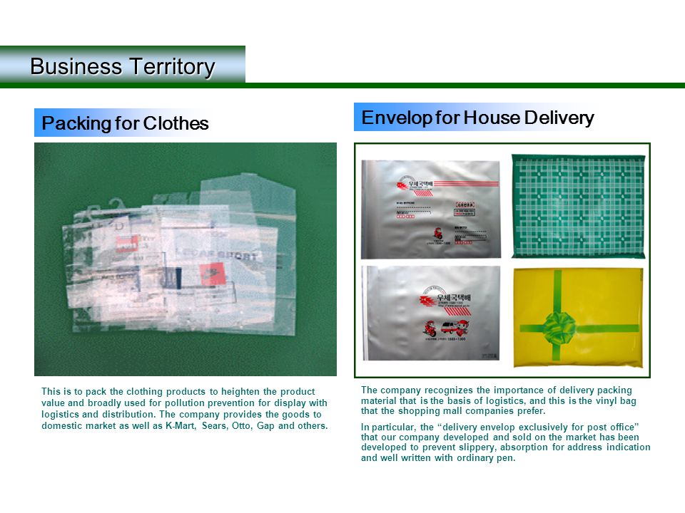 Business Territory This is to pack the clothing products to heighten the product value and broadly used for pollution prevention for display with logi