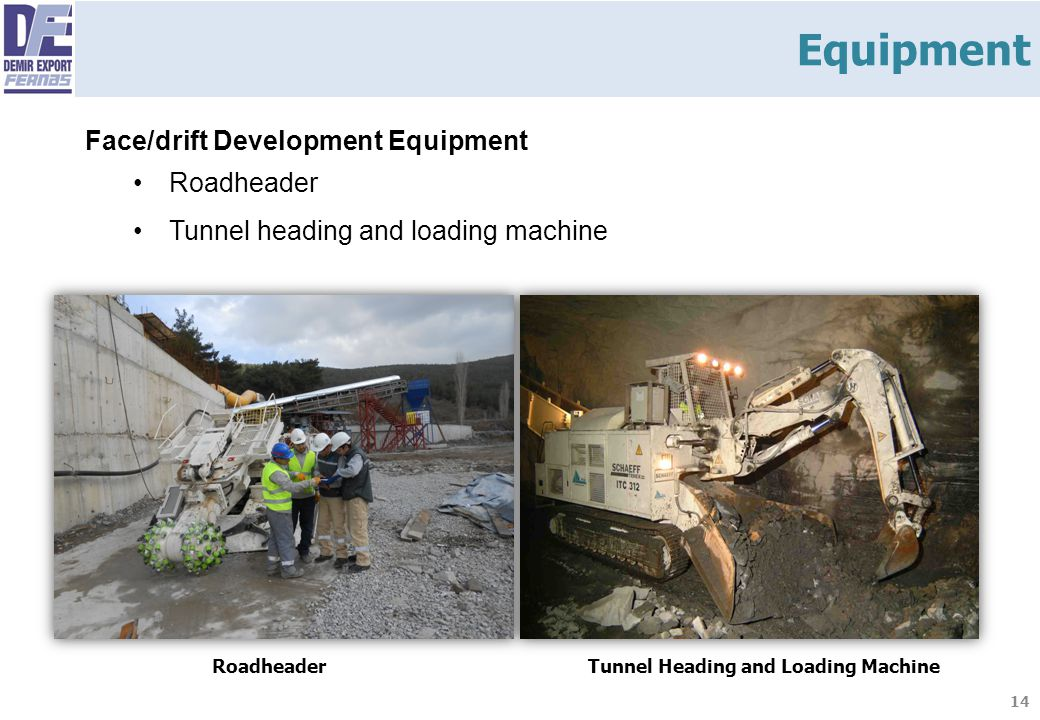 14 Face/drift Development Equipment Roadheader Tunnel heading and loading machine RoadheaderTunnel Heading and Loading Machine Equipment