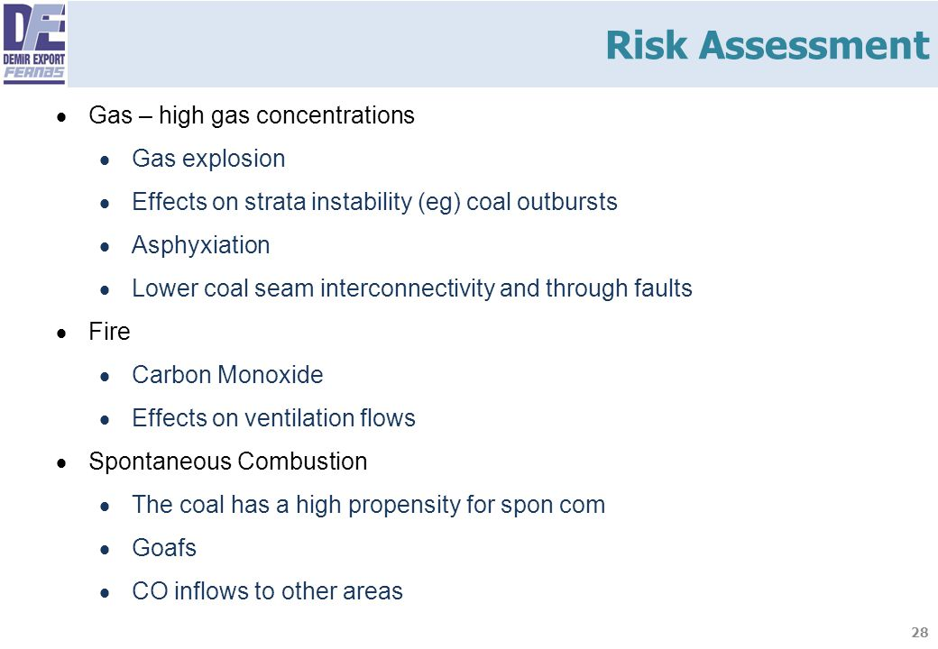 28  Gas – high gas concentrations  Gas explosion  Effects on strata instability (eg) coal outbursts  Asphyxiation  Lower coal seam interconnectiv