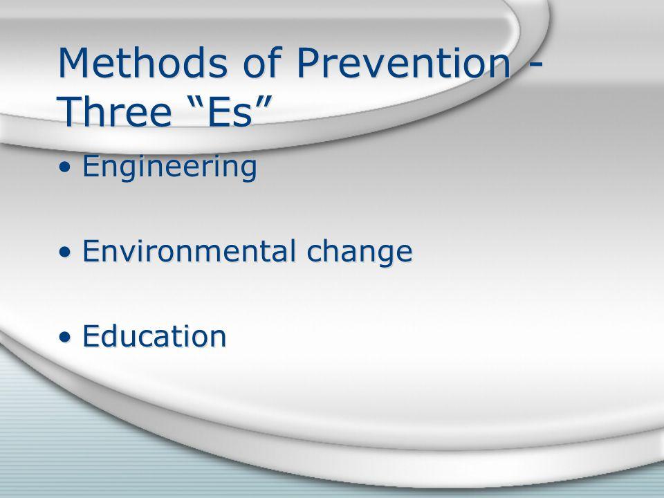 Methods of Prevention - Three Es Engineering Environmental change Education Engineering Environmental change Education