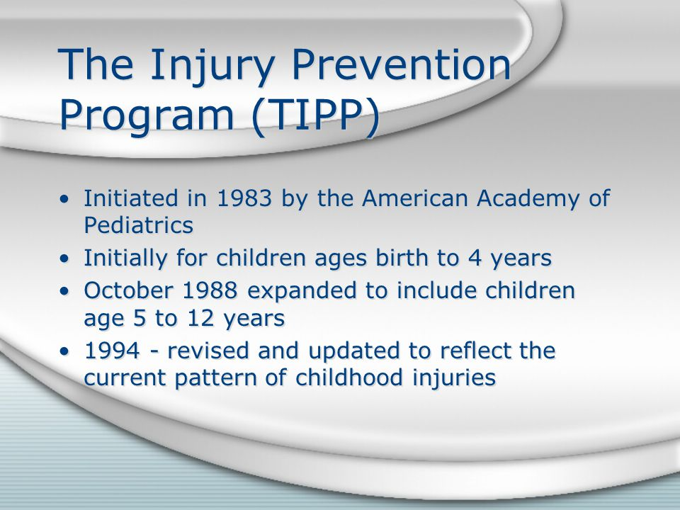 The Injury Prevention Program (TIPP) Initiated in 1983 by the American Academy of Pediatrics Initially for children ages birth to 4 years October 1988 expanded to include children age 5 to 12 years 1994 - revised and updated to reflect the current pattern of childhood injuries Initiated in 1983 by the American Academy of Pediatrics Initially for children ages birth to 4 years October 1988 expanded to include children age 5 to 12 years 1994 - revised and updated to reflect the current pattern of childhood injuries