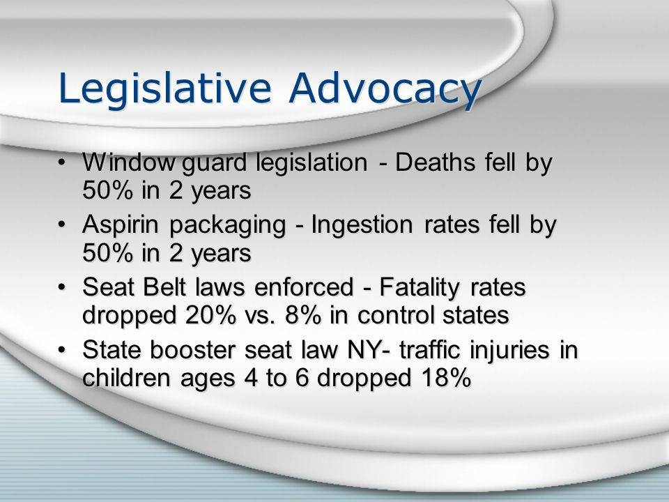 Legislative Advocacy Window guard legislation - Deaths fell by 50% in 2 years Aspirin packaging - Ingestion rates fell by 50% in 2 years Seat Belt laws enforced - Fatality rates dropped 20% vs.