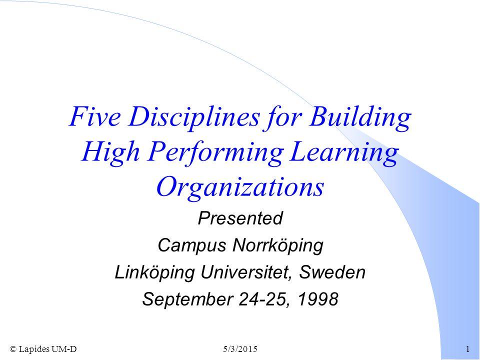 © Lapides UM-D5/3/20151 Five Disciplines for Building High Performing Learning Organizations Presented Campus Norrköping Linköping Universitet, Sweden