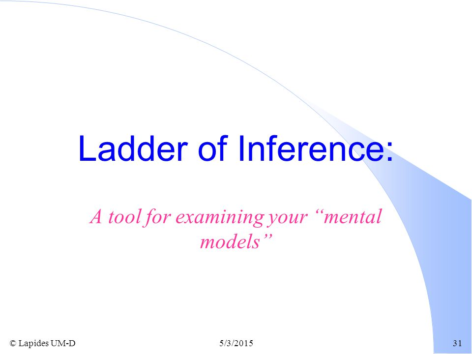 """© Lapides UM-D5/3/201531 Ladder of Inference: A tool for examining your """"mental models"""""""