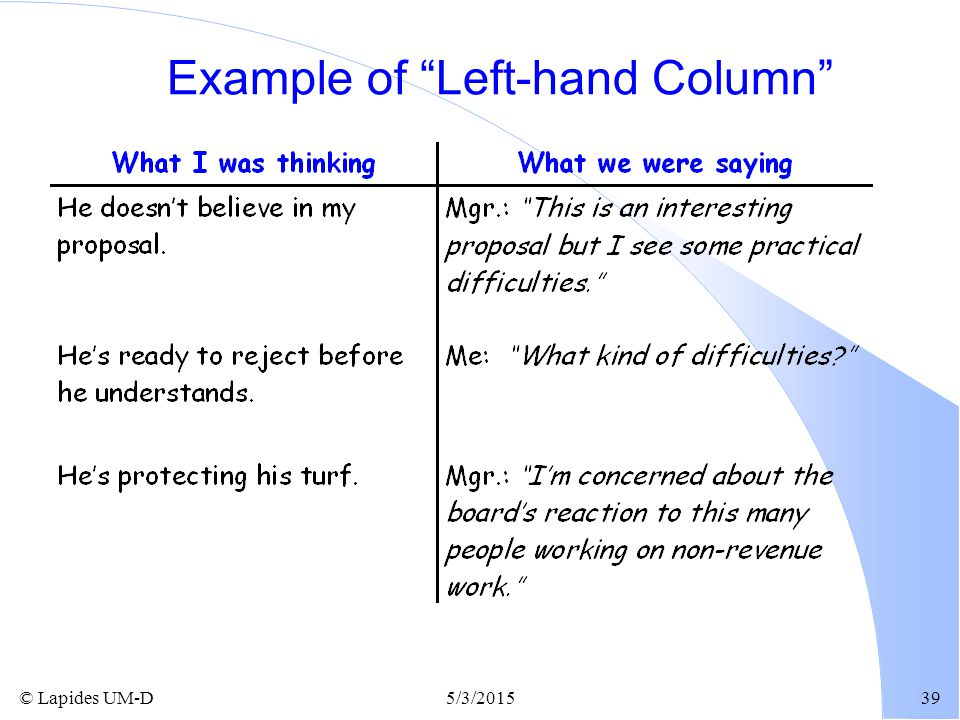 "© Lapides UM-D5/3/201539 Example of ""Left-hand Column"""