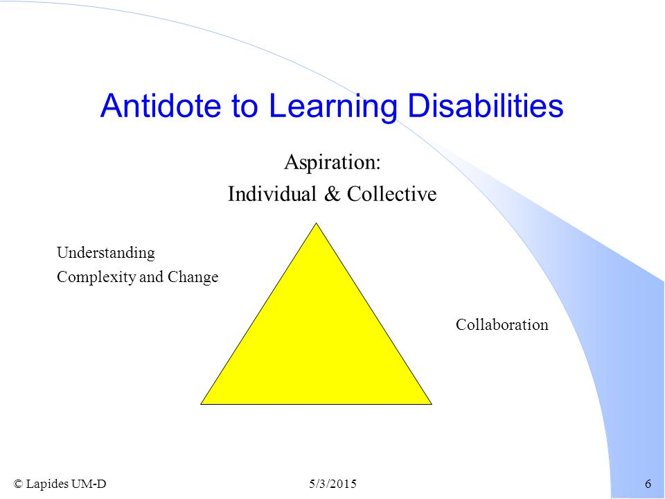 © Lapides UM-D5/3/20156 Antidote to Learning Disabilities Aspiration: Individual & Collective Understanding Complexity and Change Collaboration