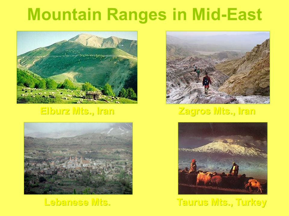 Mountain Ranges in Mid-East Elburz Mts., Iran Zagros Mts., Iran Lebanese Mts. Taurus Mts., Turkey