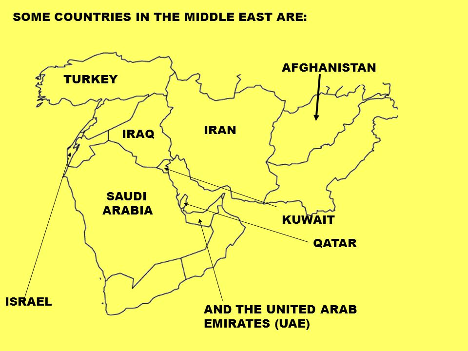 SOME COUNTRIES IN THE MIDDLE EAST ARE: ISRAEL SAUDI ARABIA TURKEY IRAN KUWAIT QATAR AND THE UNITED ARAB EMIRATES (UAE) IRAQ AFGHANISTAN