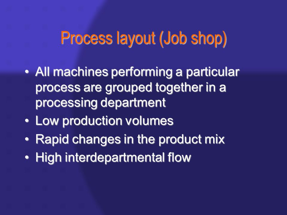 Process layout (Job shop) All machines performing a particular process are grouped together in a processing departmentAll machines performing a particular process are grouped together in a processing department Low production volumesLow production volumes Rapid changes in the product mixRapid changes in the product mix High interdepartmental flowHigh interdepartmental flow