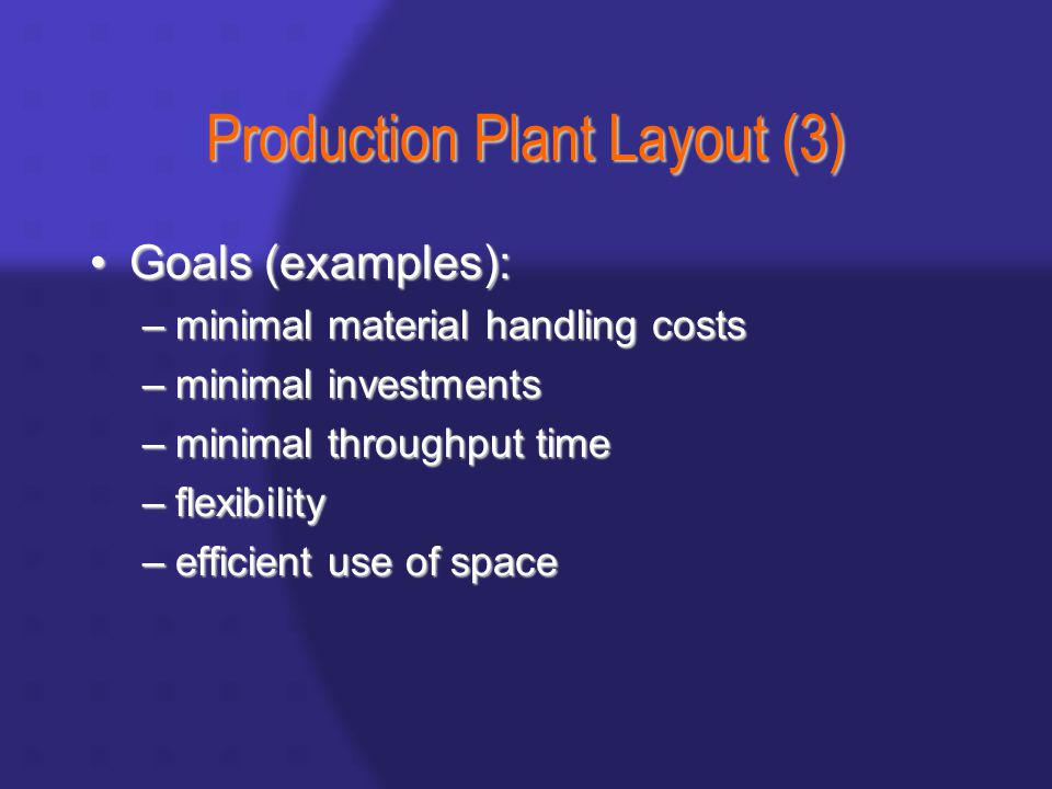 Production Plant Layout (3) Goals (examples):Goals (examples): –minimal material handling costs –minimal investments –minimal throughput time –flexibility –efficient use of space