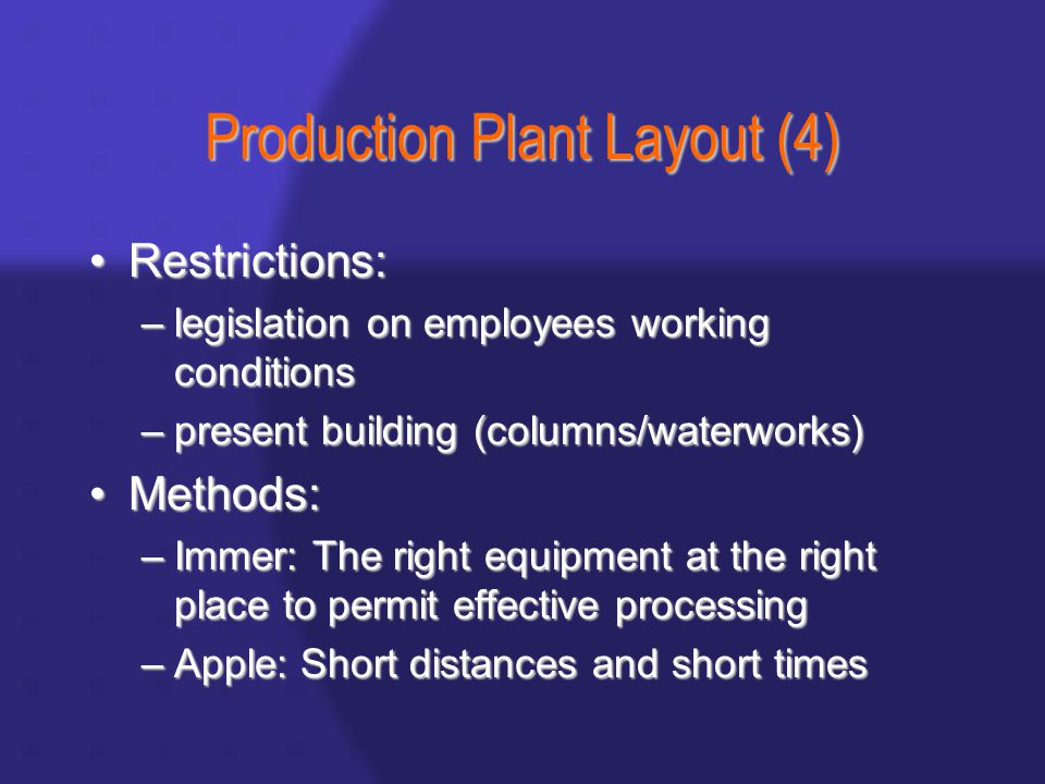 Production Plant Layout (4) Restrictions:Restrictions: –legislation on employees working conditions –present building (columns/waterworks) Methods:Methods: –Immer: The right equipment at the right place to permit effective processing –Apple: Short distances and short times