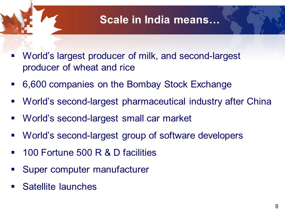 9 Scale in India means…  World's largest producer of milk, and second-largest producer of wheat and rice  6,600 companies on the Bombay Stock Exchange  World's second-largest pharmaceutical industry after China  World's second-largest small car market  World's second-largest group of software developers  100 Fortune 500 R & D facilities  Super computer manufacturer  Satellite launches