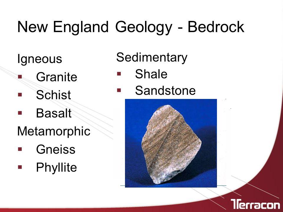 New England Geology - Bedrock Igneous  Granite  Schist  Basalt Metamorphic  Gneiss  Phyllite Sedimentary  Shale  Sandstone