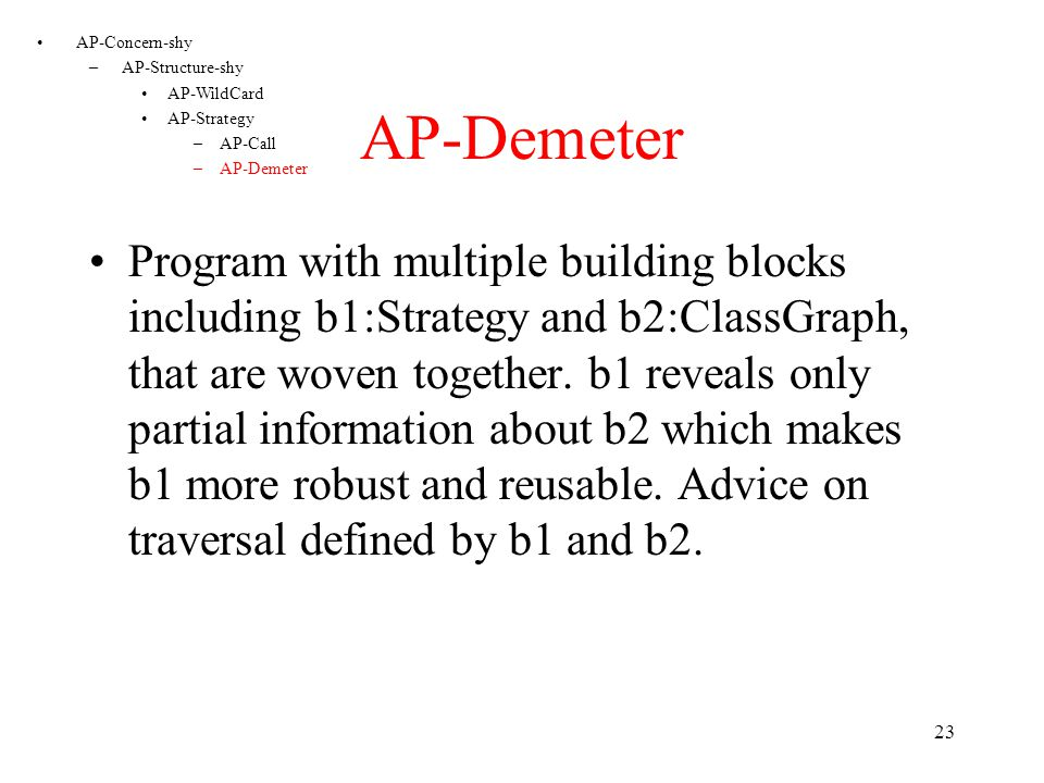 22 AP-COOL Program with multiple building blocks including b1:Coordinator and b2:CallGraph, that are woven together.