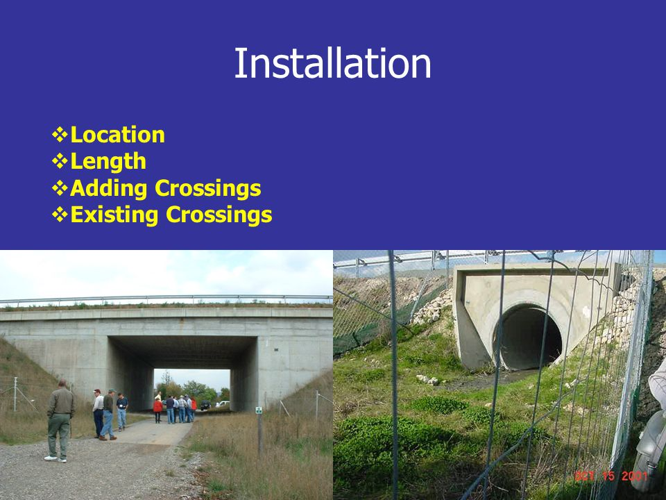 Installation  Location  Length  Adding Crossings  Existing Crossings